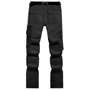 Casual Solid Color Multi-Pocket Straight Zipper Fly Straight Leg Cargo Pants For Men - BLACK 29