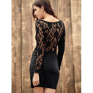Long Sleeve Lace Back Bodycon Bandage Dress - BLACK L