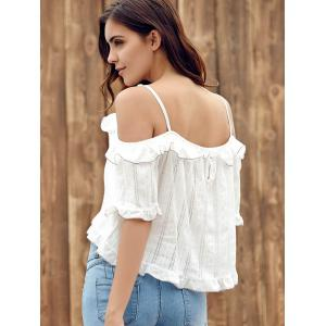 Trendy Off The Shoulder Flounce Hollow Out Women's T-Shirt -