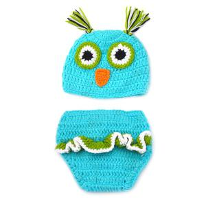 Chic Quality Newborn Wool Knitting Owl Design Baby Costume Hat + Shorts Costumes -