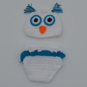 Chic Quality Newborn Wool Knitting Owl Design Baby Costume Hat+Shorts Suits - White - Size S