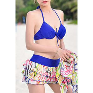 Fashionable Halterneck Letter Print Four-Piece Swimsuit For Women -