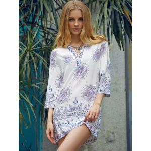Ethnic Style V-Neck 3/4 Sleeve Printed Loose-Fitting Women's Dress -
