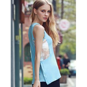 Chic V Neck Sleeveless Lace Design Women's Tank Top -