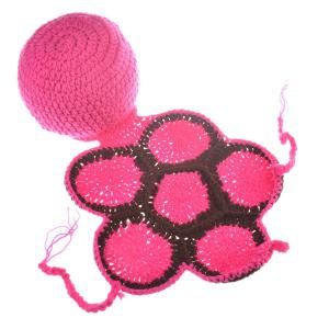 Fashion Tortoise Style Handmade Crochet Knitting Beanie Hat Clothes Set For Baby - Rose