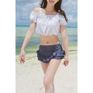 Preppy Style Striped Underwire Three Piece Swimsuit For Women