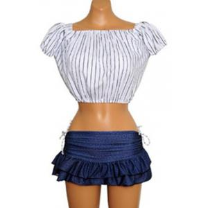 Preppy Style Striped Underwire Three Piece Swimsuit For Women - BLUE AND WHITE M