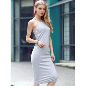 Elegant Gray Open Back Club Criss-Cross Sheath Dress - GRAY S
