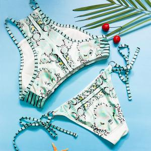 Charming Halter Printed Two-Piece Swimwear For Women -