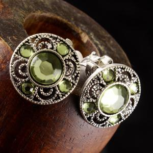 Pair of Chic Artificial Gem Hollow Out Clip Earrings For Women -