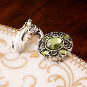 Pair of Chic Artificial Gem Hollow Out Clip Earrings For Women - GREEN