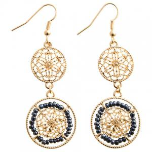 Pair of Chic Beads Hollow Out Drop Earrings For Women - Cadetblue