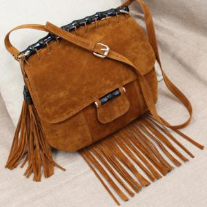 Leisure Fringe and Suede Design Crossbody Bag For Women -