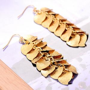 Pair of Chic Frosted Heart Drop Earrings For Women - GOLDEN