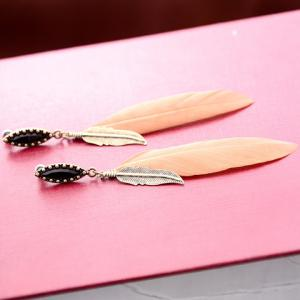 Pair of Chic Faux Gem Leaf Feather Drop Earrings For Women -