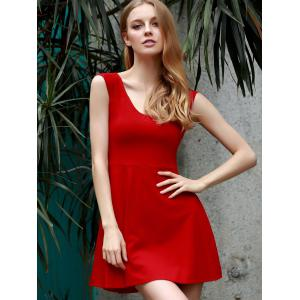 Stylish U Neck Sleeveless Cut Out Skater Dress For Women -
