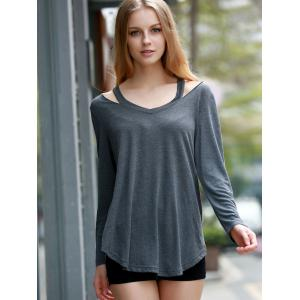 Stylish V-Neck Long Sleeve Hollow Out Asymmetrical T-Shirt For Women -