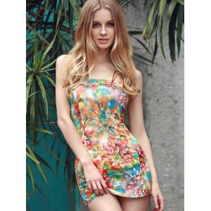 Trendy Strapless Sleeveless Colorful Printed Slimming Dress For Women -