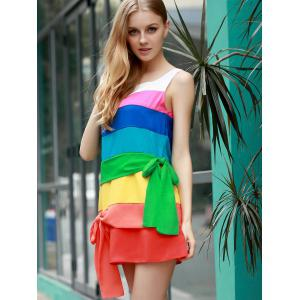 Stylish Scoop Neck Sleeveless Colored Dress For Women -