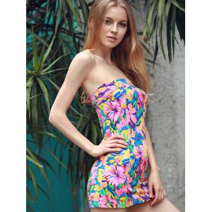 Graceful Strapless Sleeveless Colorful Flower Pattern Sheathy Mini Dress For Women -