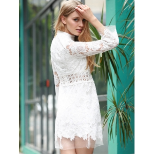 Stylish Stand Collar 3/4 Sleeve Lace Dress For Women -