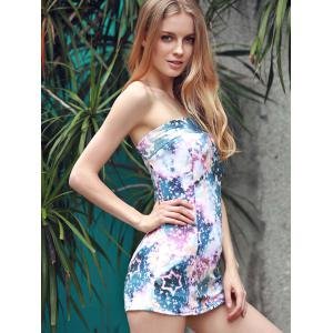 Graceful Strapless Sleeveless Full Star Print Sheathy Mini Dress For Women -