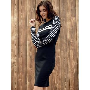 Chic Round Collar Long Sleeve Stripe Spliced Color Block Skinny Women's Dress -