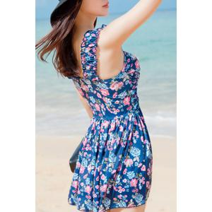 Refreshing Sweetheart Neck Flower Print Two Piece Swimsuit For Women -