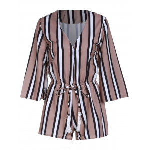 Alluring 3/4 Sleeve Plunging Neck Striped Women's Romper -