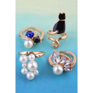 Chic Rhinestone Faux Pearl Cat Alloy Rings For Women -