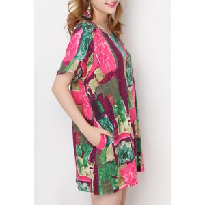Refreshing Round Collar Short Sleeve Printed Colorful Mini Dress For Women -