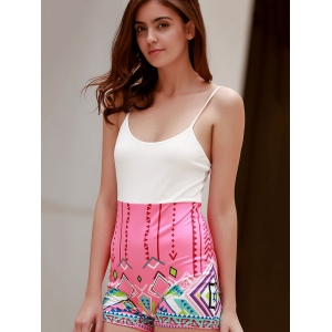 Sexy Spaghetti Strap  Geometric Figure Print Romper For Women - WHITE S