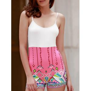 Sexy Spaghetti Strap  Geometric Figure Print Romper For Women