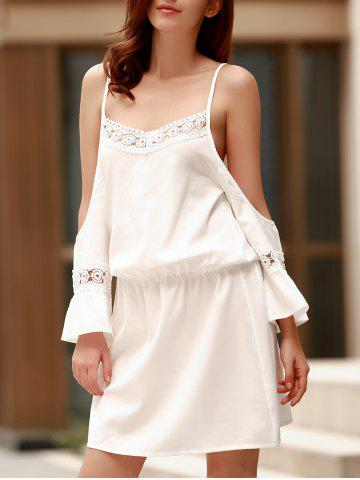 Fancy Spaghetti Strap Lace Panel Casual Dress With Sleeves WHITE S