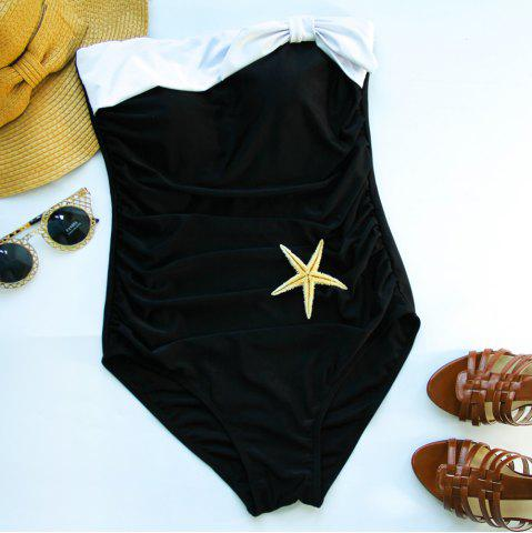 Discount Women's Stylish Strapless Hit Color One Piece Swimwear
