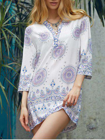 New Ethnic Style V-Neck 3/4 Sleeve Printed Loose-Fitting Women's Dress