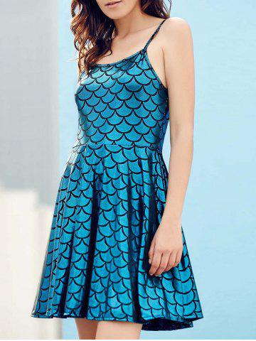 Online Spaghetti Strap Fish Scale Casual Dress For Summer