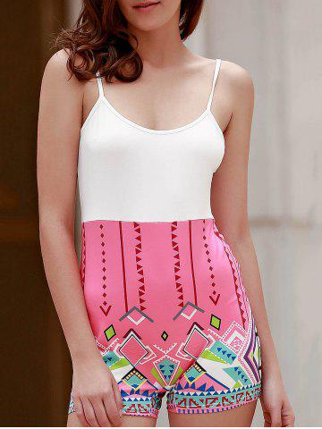 Cheap Sexy Spaghetti Strap  Geometric Figure Print Romper For Women WHITE S