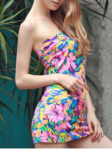 Latest Graceful Strapless Sleeveless Colorful Flower Pattern Sheathy Mini Dress For Women