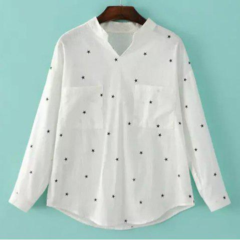 Affordable Casual Stand Collar Long Sleeve Star Print Women's Shirt