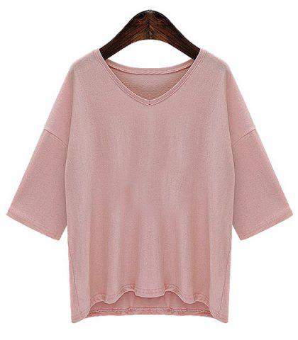 Outfits Trendy Half Sleeves V-Neck Solid Color Women's T-Shirt
