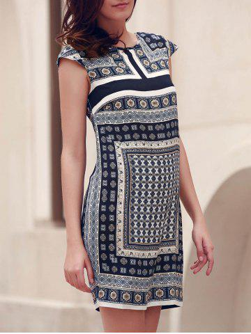 Latest Round Collar Printed Short Shift Bohemian Dress