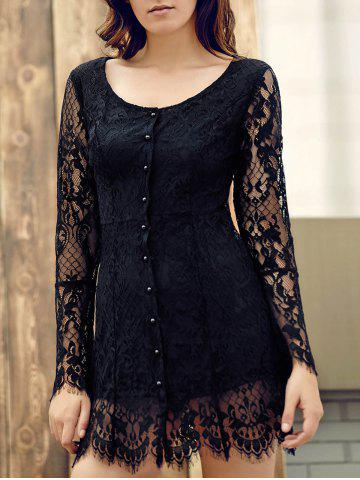 Cheap Short Lace Long Sleeve Graduation Cocktail Dress BLACK L