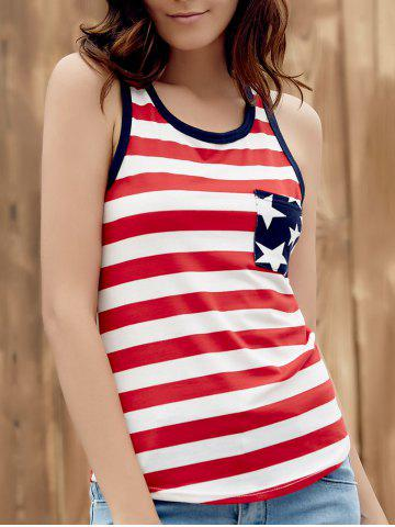 Store Brief Style U Neck Star Print Striped Racer Tank Top For Women
