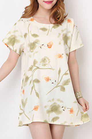 Sale Fresh Style Round Collar Short Sleeve Floral Print Loose Mini Dress For Women