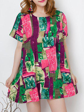 Shop Refreshing Round Collar Short Sleeve Printed Colorful Mini Dress For Women