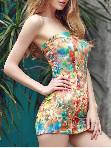 Unique Trendy Strapless Sleeveless Colorful Printed Slimming Dress For Women