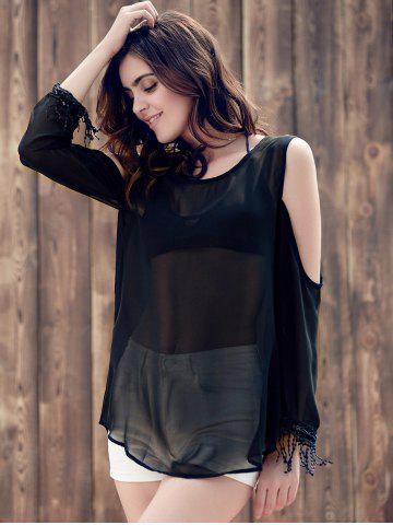 Hot Trendy Scoop Collar Long Sleeve See-Through Fringed Cold Shoulder Blouse For Women