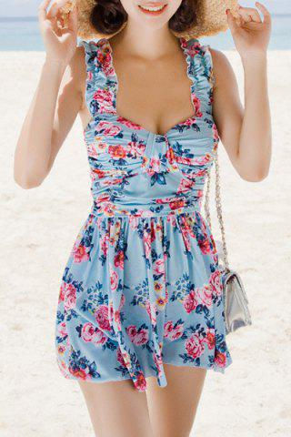 Cheap Refreshing Sweetheart Neck Flower Print Two Piece Swimsuit For Women