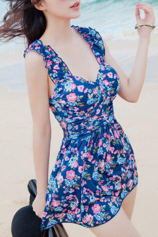 Store Refreshing Sweetheart Neck Flower Print Two Piece Swimsuit For Women